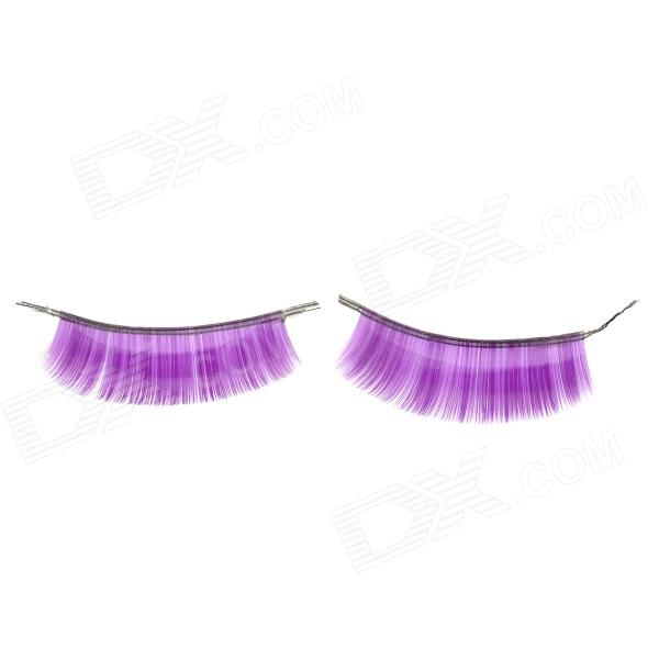 J-10 Man-Made Partido Makeup Natural Escuro Curvo Artificial Cílios Set - Roxo (10 pares)