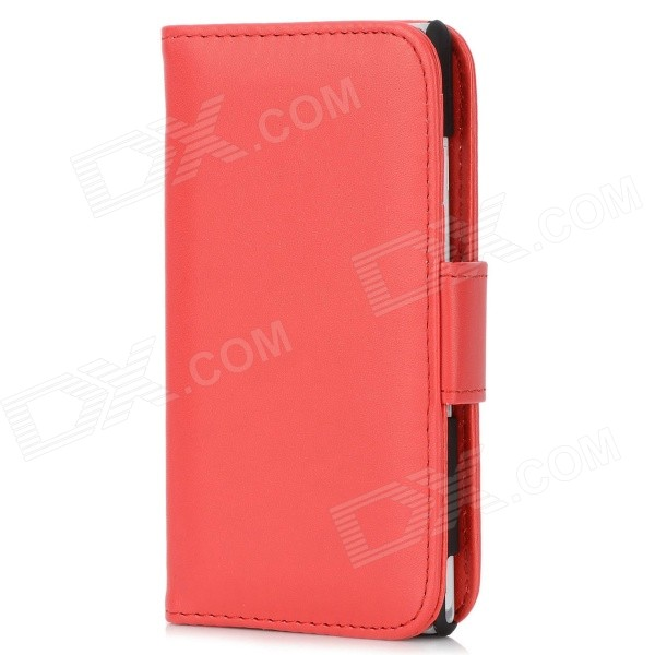 Protective PU Leather Flip Open Case w/ Card Slot for Sony L36h Xperia Z - Red + Black protective flip open pu case w stand card slots for samsung galaxy s4 active i9295 black