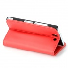 Protective PU Leather Flip Open Case w/ Card Slot for Sony L36h Xperia Z - Red + Black