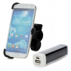 Bike Mount Holder + 3200mAh laddningsbara Power Bank för Samsung Galaxy S4 / i9500 - svart