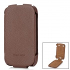 HOCO Cow Couro genuíno Top-flip aberto Case para Blackberry 9900/9930 - Brown