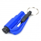 3-in-1 Safety Hammer + Seat Belt Cutter + Whistle Keychain - Black + Blue