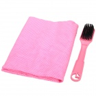 Embossed PVA Cleaning Cloth / Towel w/ Brush for Car - Pink