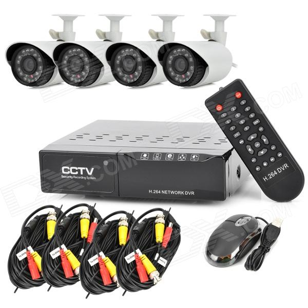 4-Channel 500GB Home Security DVR Recorder System w/ 4-IR Weatherproof Surveillance CCTV Cameras Kit