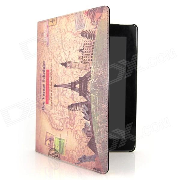 цена на ENKAY Building Pattern Protective PU Leather Smart Case for Ipad 2 / 4 / the New Ipad - Brown