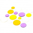 3D Art Round Shape Glass Wall Refrigerator Sticker - White + Yellow + Purple + Orange (16 PCS)