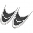 Car Air Flow Decorative Plastic Stickers - Black + Silver (Pair)