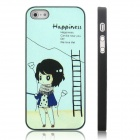 ENKAY Happiness Girl Pattern Protective Plastic Case for Iphone 5 - Black + Multicolor