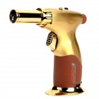 1300 Centigrade Adjustable Flame Blue Flame Windproof Butane Jet Torch Lighter - Golden + Brown