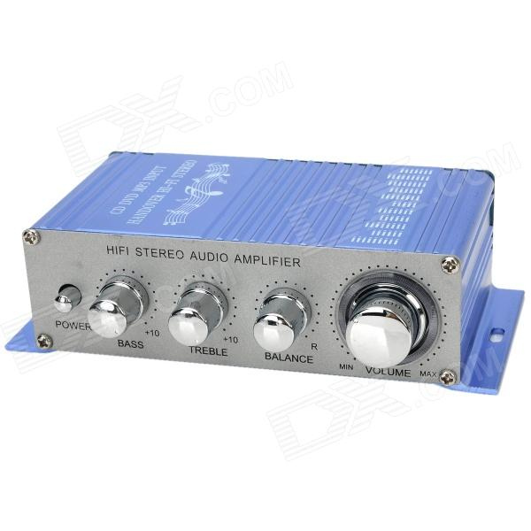 2-Channel Hi-Fi Car Stereo Audio Amplifier w/ MP3 / DVD / VCD Output - Cornflower Blue + Silver