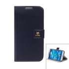 NEWTOP Protective PU Leather Case w/ Stand for Samsung Galaxy S4 i9500 - Black