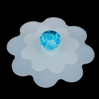 Fashion Diamond Design Silicone Cup Cover Lip - Blue + White