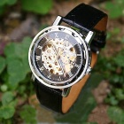 Men's Silver Steel Alloy Skeleton PU Band Semi-automatic Mechanical Wrist Watch - Black