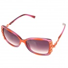 LANGTEMENG Fashion Lady's Cellulose Acetate Frame Grey Gradient Lens Sunglasses - Orange + Deep Pink