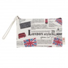Simple British Flag Design Linen Coin Purse w/ Hand Strap - Beige