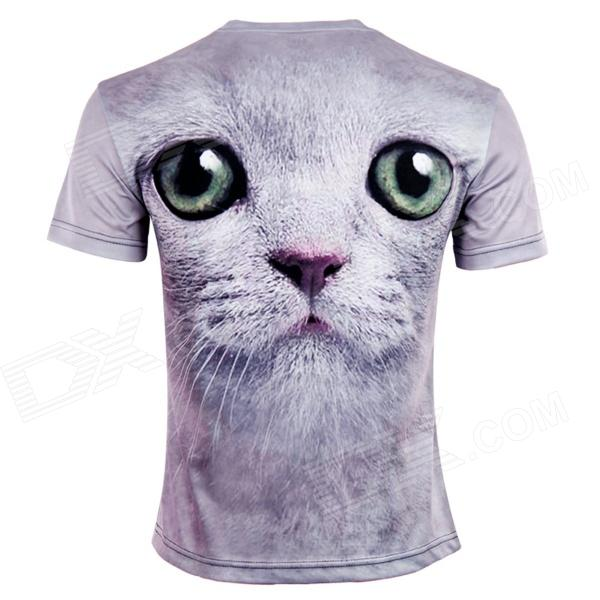 LaoNongZHuang Men's Gray Cat Head 3D T Shirt (XXL) large 24x24 cm simulation white cat with yellow head cat model lifelike big head squatting cat model decoration t187