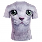 LaoNongZHuang Men's Gray Cat Head 3D T Shirt (XXL)