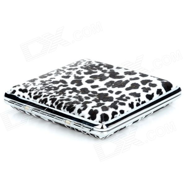 Fashion Leopard Print Stainless Steel Cigarette Case -  White + Black