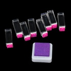 Cute Cartoon Figure Stamp + Inkpad Set - Purple + Deep Pink (9 PCS)