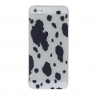 Stylish Speckle Pattern PVC Protective Back Case for Iphone 5 - White + Black