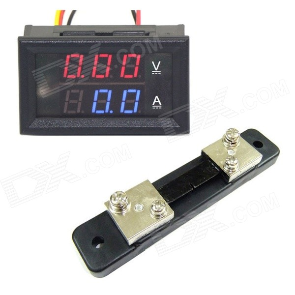 mini digital blue red led dc current meter voltmeter w ampere mini digital blue red led dc current meter voltmeter w ampere shunt
