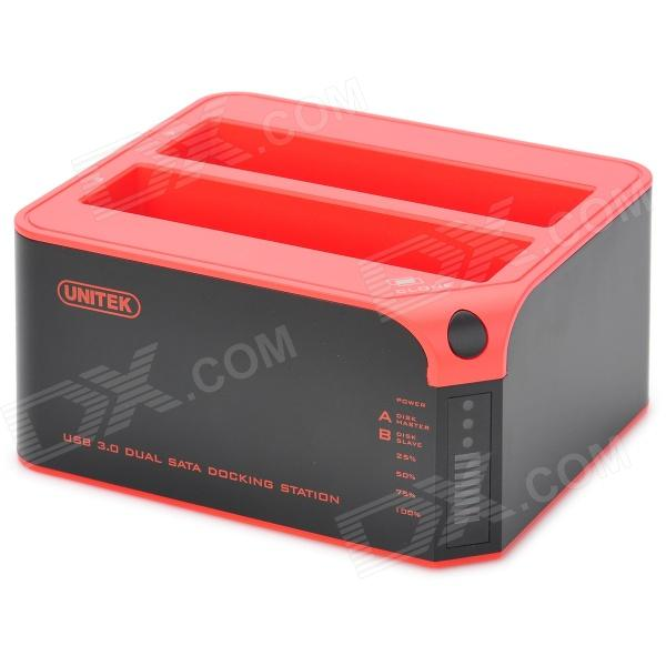 UNITEK Y-3022 Portable USB3.0 TO Dual HDD Docking Station - Black + Red