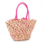 Fashionable Women's Travel One-Shoulder Corn Bran Straw Handbag - Deep Pink + Beige