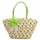 Fashionable Women's Travel One-Shoulder Corn Bran Straw Handbag - Green + Beige