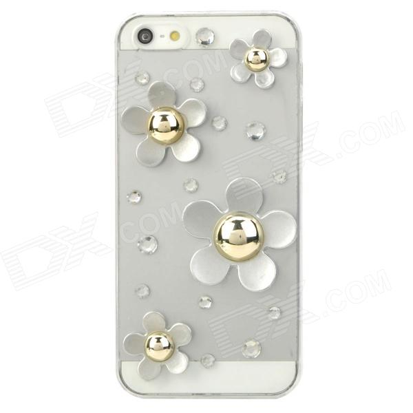 Protective Flowers Style Rhinestone Plastic Back Case for Iphone 5 - Transparent + Silver protective heart shape rhinestone decoration back case for iphone 5 brown