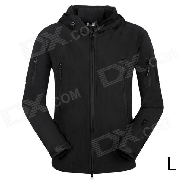 Men's Waterproof Windproof Polyester + Spandex Outdoor Jacket - Black (Size L)