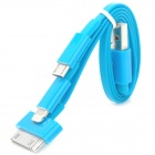 4-in-1 USB Charging Cable w/ 8-Pin Lightning / iPhone 30-Pin / Samsung 30-Pin / Micro USB - Blue