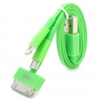 4-in-1 USB-Ladekabel w / 8-Pin Blitz / iPhone 30-Pin / Samsung 30-Pin / Micro USB - Grün