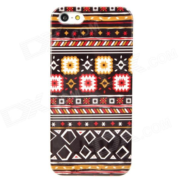 Folk Fabric Style Protective Plastic Back Case for Iphone 5 - Multicolor water drops style protective plastic back case for iphone 4 blue