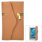 Zippered Wallet Style Protective PU Leather Case for Samsung Galaxy S4 i9500 - Brown