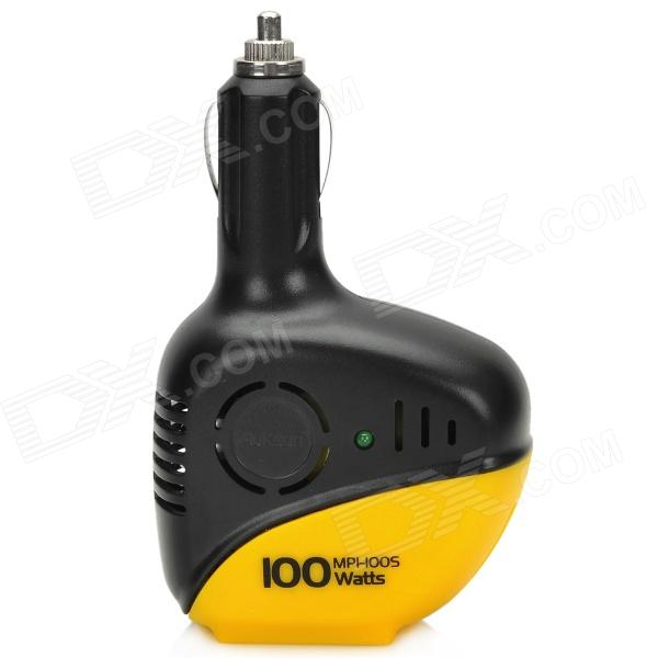 Car 100W 12V to 220V Power Inverter w/ USB - Black + Yellow
