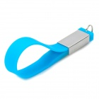 WS-20 Fashion Stainless Steel + Silicone Bracelet Style USB 2.0 Flash Drive - Blue + Silver (8GB)