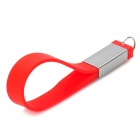 WS-21 Fashion Stainless Steel + Silicone Bracelet Style USB 2.0 Flash Drive - Red + Silver (8GB)