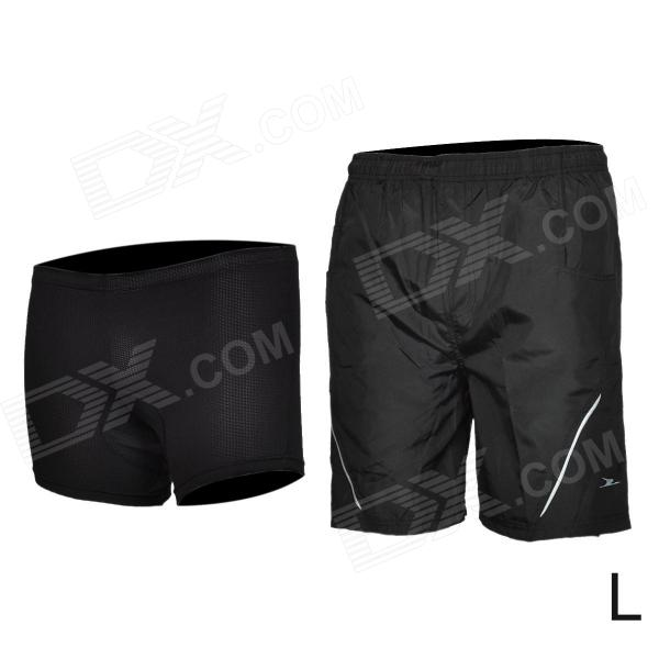 Mountainpeak Cycling Casual Shorts w/ Underwear Set for Men - Black (Size L) - DXCycle Clothing<br>Brand Mountainpeak Quantity 1 Color Black Material Nylon Size L Gender Mens Best use Cycling Suitable for Adults Length No cm Shoulder Width No cm Chest Girth No cm Suitable for Height 168~175 cm Features Seamless anti-shock and vibration; Comfortable to wear Other Features Suitable for summer; Length: 52cm waist: 72cm inner side length: 18cm Packing List 1 x Underwear 1 x Shorts<br>