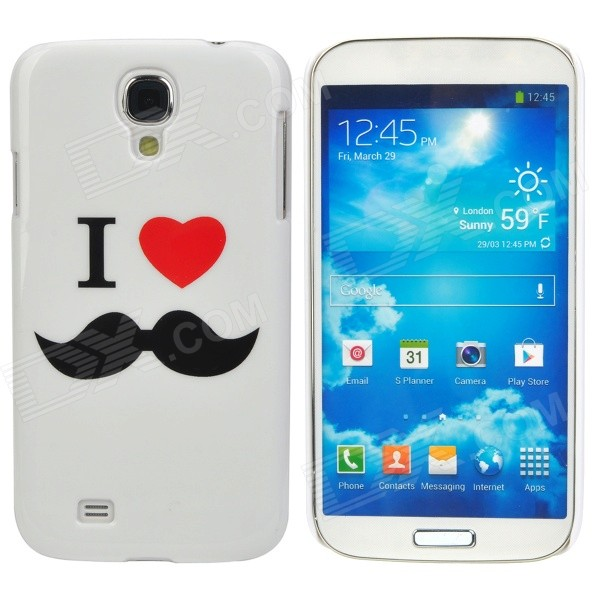 Mustache Style Protective Plastic Back Case for Samsung Galaxy S4 i9500 - White protective plastic case for samsung galaxy s4 i9500 white