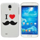 Mustache Style Protective Plastic Back Case for Samsung Galaxy S4 i9500 - White