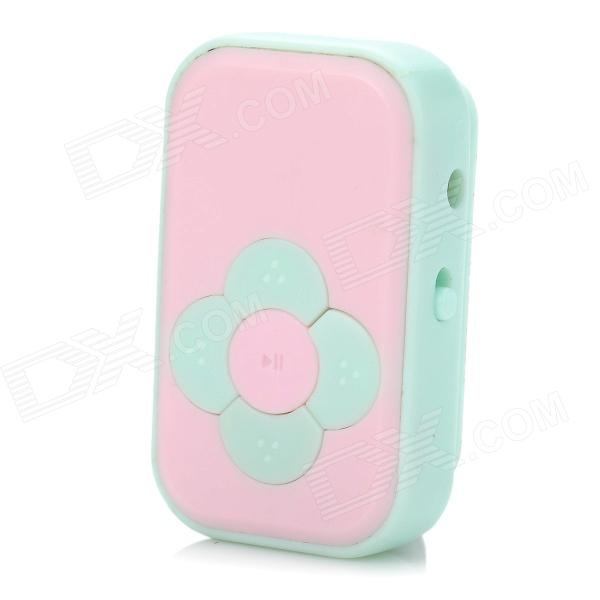 Mini Rechargeable Clip-On MP3 Player w/ TF Slot - Pink + Blue