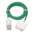 Nylon Gehäuse USB 2.0 an Apple 30 Pin-Ladekabel + Datenkabel - Green (100cm)