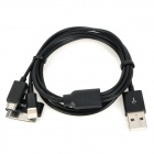 USB Male to 8 Pin Lightning / Apple 30 Pin / Micro USB Charging + Data Sync Cable - Black (100cm)