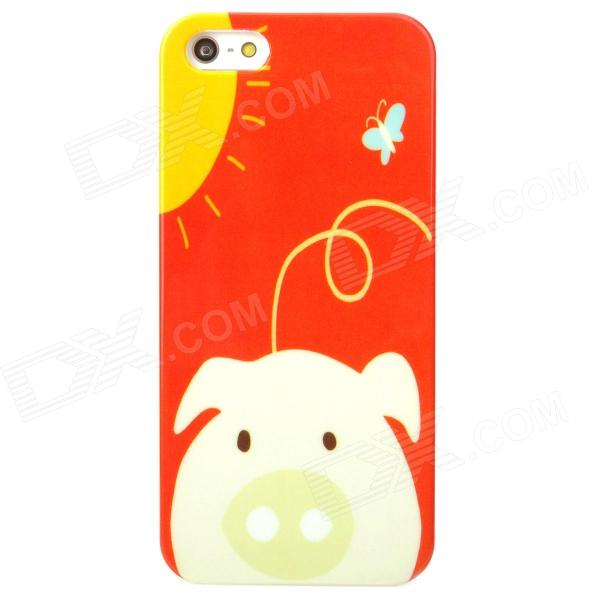 Cartoon Pig in the Sun Pattern Protective Plastic Back Case for Iphone 5 - Red + White + Yellow a walk in the sun