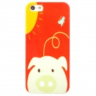 Cartoon Pig in the Sun Pattern Protective Plastic Back Case for Iphone 5 - Red + White + Yellow