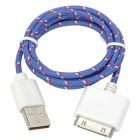 Nylon Housing USB 2.0 to Apple 30 Pin Charging + Data Cable - Purple (100cm)