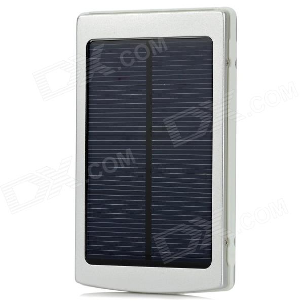 10000mAh 1.5W Compact Universal Portable Solar Energy Power Bank + 3-in-1 USB Cable Set - Silver