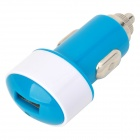 USB Car Cigarette Lighter Power Adapter Charger w/ LED Indicator - Blue + White