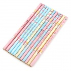 Love Story 9012-12 Wood HB Pencils - Pink + Blue + Yellow (12 PCS)