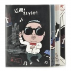 E2RF HB16-12124 Gangnam Style Psy Pattern Wire Binding Notebook / Notepad - Black (4 PCS / 80-Page)